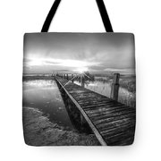Reaching Into Sunset In Black And White Tote Bag