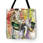 Reading El Pais And Drinking Rioja In Spain Tote Bag