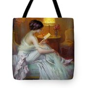 Reading In Lamp Light Tote Bag