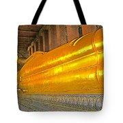 Reclining Buddha In Wat Po In Bangkok-thailand Tote Bag