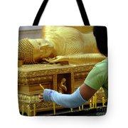 Reclining Buddha Prayer Candles Tote Bag