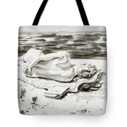 Reclining Nude Study Resting At The Beach Tote Bag