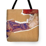 Reclining Semi-nude With Red Hat Tote Bag