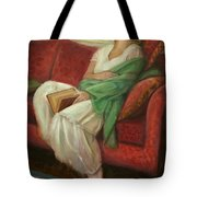 Reclining With Book Tote Bag