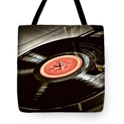 Record On Turntable Tote Bag