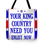 Recruiting Poster - Britain - King And Country Tote Bag