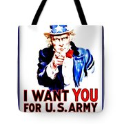 Recruiting Poster - Ww1 - I Want You Tote Bag