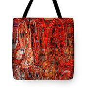 Red Abstract Panel Tote Bag by Carol Groenen