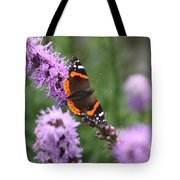 Red Admiral Butterfly On A Blazing Star Tote Bag