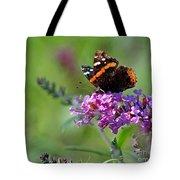 Red Admiral Butterfly On Butterfly Bush Tote Bag