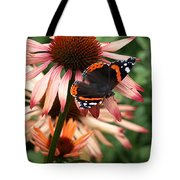 Red Admiral On Coneflower Tote Bag