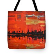 Red Amazon Sunset Tote Bag