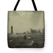 Red Among The Waves Tote Bag