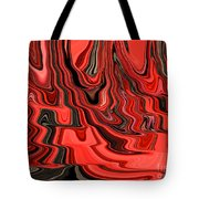 Red And Black Flowing Abstract Tote Bag