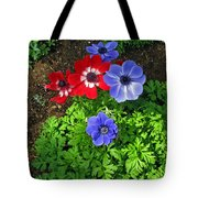 Red And Blue Anemones Tote Bag
