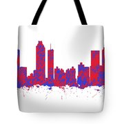 Red And Blue Art Print Of The Skyline Of Atlanta Georgia Usa Tote Bag