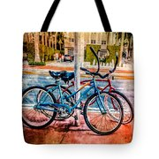 Red And Blue Rides Tote Bag
