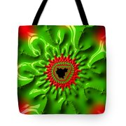 Red And Green Abstract Fractal Art Tote Bag