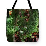 Red And Green Foliage Tote Bag