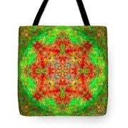 Red And Green Sun Mandala Tote Bag