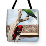 Red And Green Parrots Tote Bag