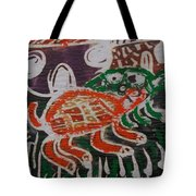Red And Green Tortoise On Their Way To Bush Tote Bag