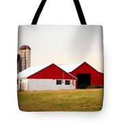 Red And White Barn Tote Bag