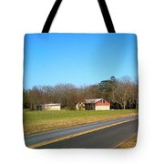 Red And White Barn With Trees Tote Bag