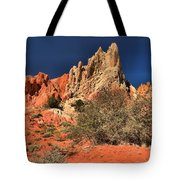Red And White Desert Towers Tote Bag