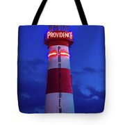 Red And White Lighthouse Shows Neon Tote Bag