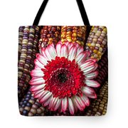 Red And White Mum With Indian Corn Tote Bag