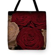 Red And White Roses Color Engraved Tote Bag