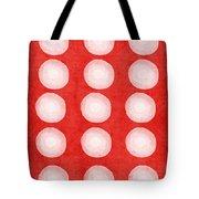 Red And White Shibori Circles Tote Bag