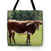 Red And White Texas Longhorn Bull Tote Bag