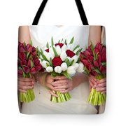 Red And White Tulip And Rose Wedding Bouquets Tote Bag