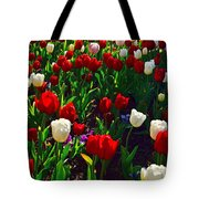 Red And White Tulip Art Tote Bag
