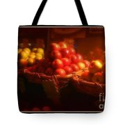 Red And Yellow Apples In Baskets Tote Bag