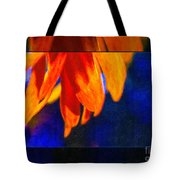Red And Yellow Bloom In A Blue Paradise Tote Bag
