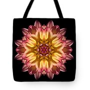 Red And Yellow Dahlia Iv Flower Mandala Tote Bag