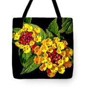 Red And Yellow Lantana Flowers With Green Leaves Tote Bag
