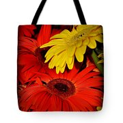 Red And Yellow Glory - The Flowers Of Summer - Gerbera Daisies Tote Bag
