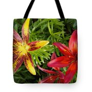 Red And Yellow Lilly Flowers In The Garden Tote Bag