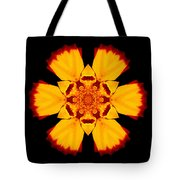 Red And Yellow Marigold II Flower Mandala Tote Bag