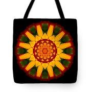 Red And Yellow Marigold V Flower Mandala Tote Bag
