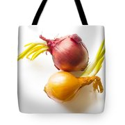 Red And Yellow Onion With Sprout Tote Bag