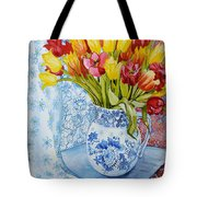 Red And Yellow Tulips In A Copeland Jug Tote Bag by Joan Thewsey