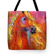 Red Arabian Horse Impressionistic Painting Tote Bag