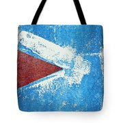 Red Arrow Painted On Blue Wall Tote Bag