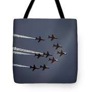 Red Arrows Flying Into The Sun Tote Bag