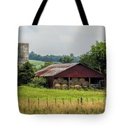 Red Barn And Bales Of Hay Tote Bag